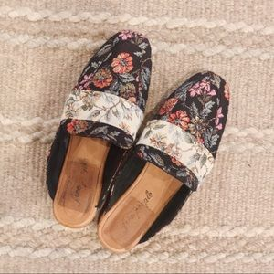 Free People Embroidered Brocade Mules